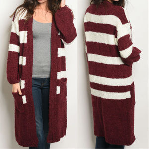 Sweaters - SWEATER BURGUNDY AND CREAM STRIPED CARDIGAN